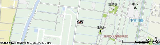 愛知県愛西市森川町(宮西)周辺の地図