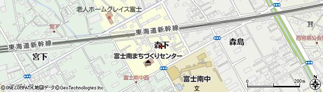 静岡県富士市森下周辺の地図