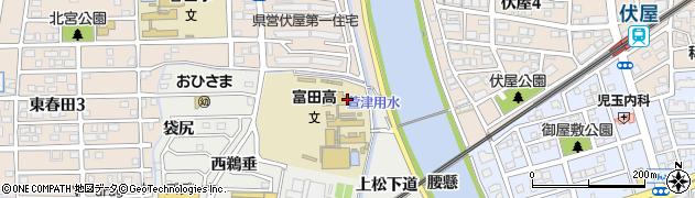 愛知県名古屋市中川区富田町大字榎津(上鵜垂)周辺の地図