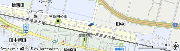 静岡県富士市三新田周辺の地図