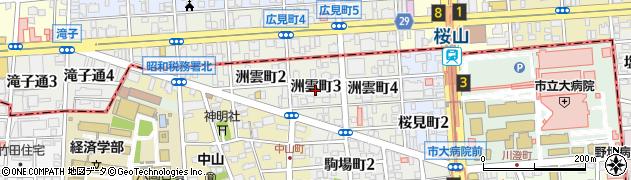 愛知県名古屋市瑞穂区洲雲町周辺の地図