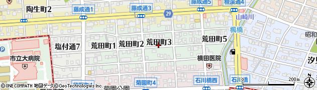愛知県名古屋市昭和区荒田町周辺の地図
