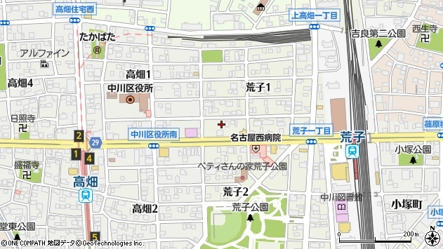 〒454-0869 愛知県名古屋市中川区荒子の地図