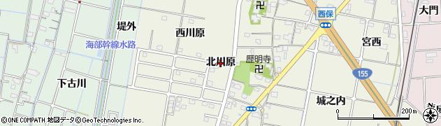 愛知県愛西市西保町(北川原)周辺の地図