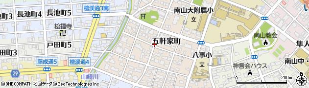 愛知県名古屋市昭和区五軒家町周辺の地図