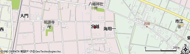 愛知県愛西市東保町(宮越)周辺の地図