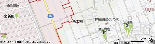 愛知県津島市半頭町(西之割)周辺の地図