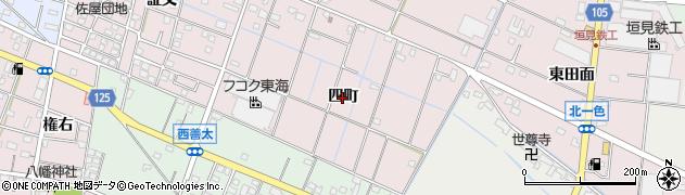 愛知県愛西市北一色町(四町)周辺の地図