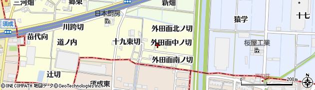 愛知県あま市七宝町徳実(外田面中ノ切)周辺の地図