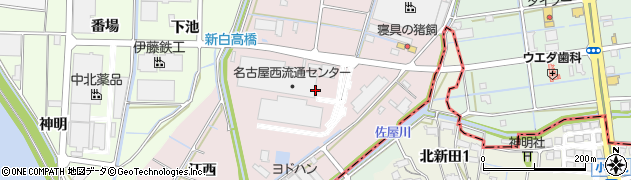 愛知県津島市高台寺町(新開)周辺の地図