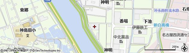 愛知県津島市中一色町(神明)周辺の地図