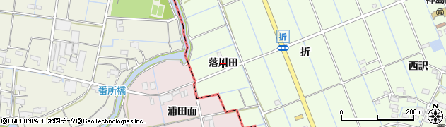 愛知県津島市中一色町(落川田)周辺の地図