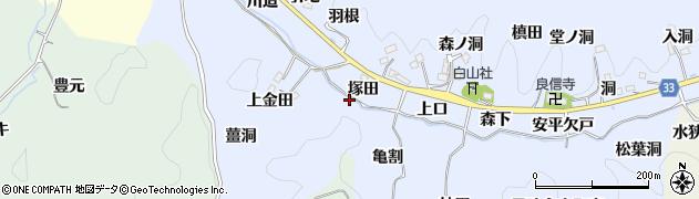 愛知県豊田市足助白山町(塚田)周辺の地図