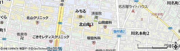 愛知県名古屋市昭和区北山町周辺の地図