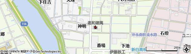 愛知県津島市白浜町(番場)周辺の地図