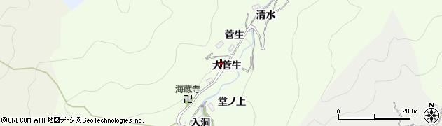 愛知県豊田市菅生町(大菅生)周辺の地図