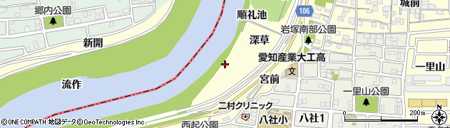 愛知県名古屋市中村区岩塚町(順礼池)周辺の地図