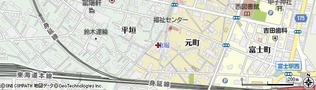 静岡県富士市元町周辺の地図