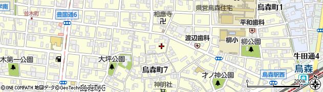 愛知県名古屋市中村区烏森町周辺の地図