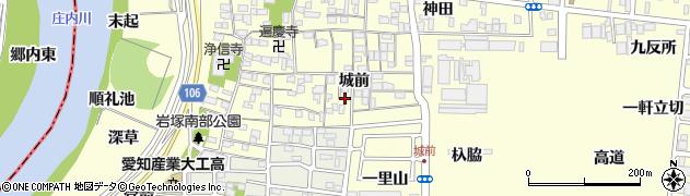 愛知県名古屋市中村区岩塚町(城前)周辺の地図
