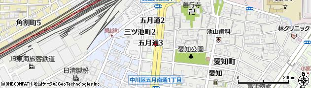 愛知県名古屋市中川区五月通周辺の地図