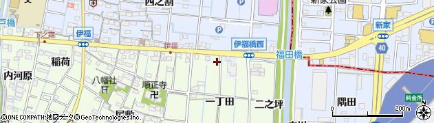 愛知県あま市七宝町下之森(一丁田)周辺の地図