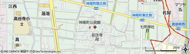 愛知県津島市神尾町(西之割)周辺の地図