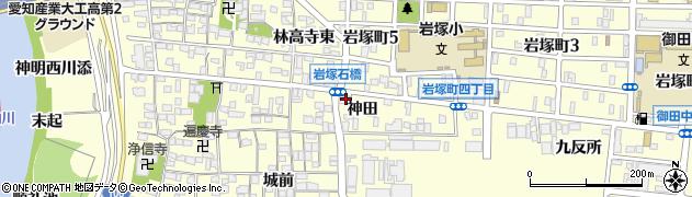愛知県名古屋市中村区岩塚町(神田)周辺の地図
