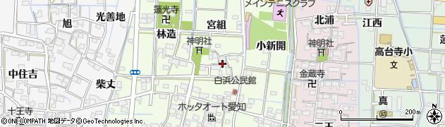 愛知県津島市白浜町(宮組)周辺の地図