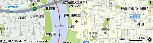 愛知県名古屋市中村区岩塚町(末起)周辺の地図