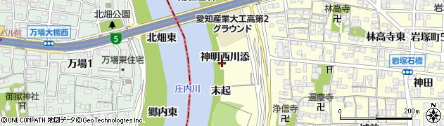 愛知県名古屋市中村区岩塚町(神明西川添)周辺の地図