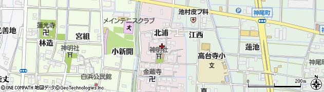 愛知県津島市高台寺町(北浦)周辺の地図