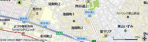 愛知県名古屋市千種区池園町周辺の地図