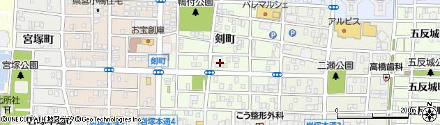 愛知県名古屋市中村区剣町周辺の地図