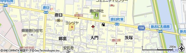 愛知県津島市唐臼町(大門)周辺の地図