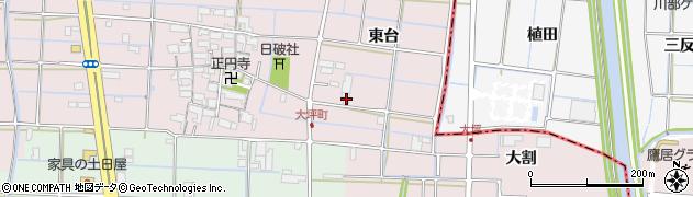 愛知県津島市大坪町(東台)周辺の地図
