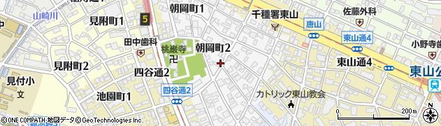 愛知県名古屋市千種区朝岡町周辺の地図