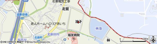 愛知県日進市北新町(池下)周辺の地図