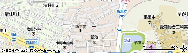 愛知県名古屋市千種区新池町周辺の地図