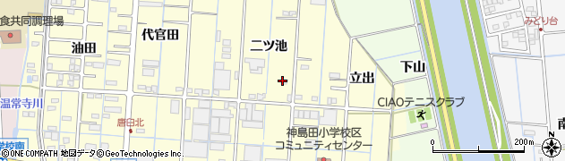 愛知県津島市唐臼町(二ツ池)周辺の地図