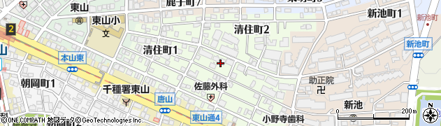 愛知県名古屋市千種区清住町周辺の地図