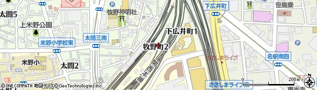 愛知県名古屋市中村区牧野町周辺の地図