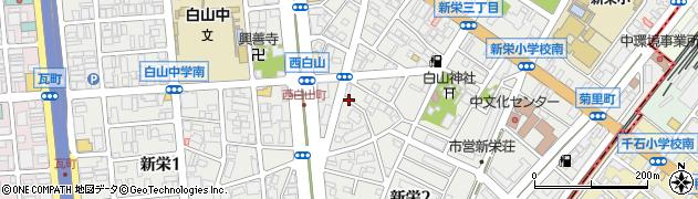 愛知県名古屋市中区新栄周辺の地図