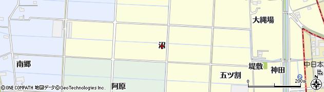 愛知県愛西市宮地町(沼)周辺の地図