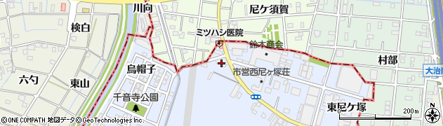 愛知県名古屋市中川区富田町大字千音寺(三角)周辺の地図