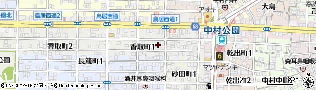 愛知県名古屋市中村区香取町周辺の地図