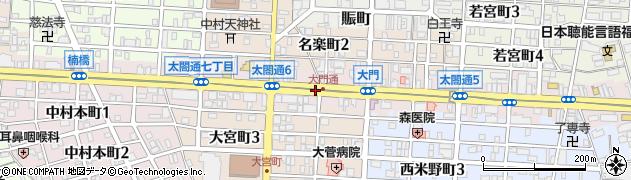 愛知県名古屋市中村区太閤通周辺の地図
