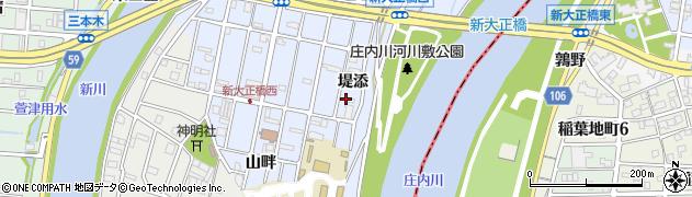 愛知県大治町(海部郡)八ツ屋(堤添)周辺の地図