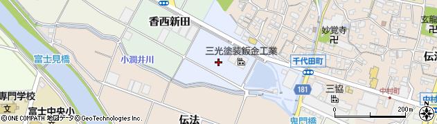 静岡県富士市香西周辺の地図