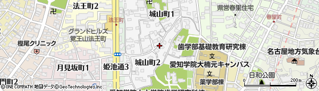 愛知県名古屋市千種区城山町周辺の地図